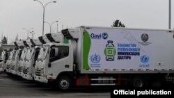 UNICEF томонидан 23 февраль куни Ўзбекистон Соғлиқни сақлаш вазирлигига топширилган махсус автомобиллар (ССВ фотоси)