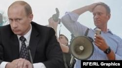Presidenti rus, Vladimir Putin, dhe lideri i opozitës ruse, Aleksei Navalny.