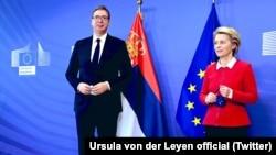 Serbian President Aleksandar Vucic meets with Ursula von der Leyen, president of the European Commission, in Brussels on April 26.