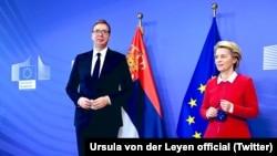 Урсула фон дер Лајен и Александар Вучиќ, Брисел, 26 април 2021 година
