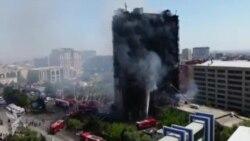 Azadliq prospektində yanan binanın söndürülmə anı