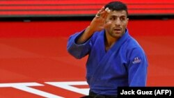 Saeid Mollaei competes for Mongolia at the Tel Aviv Grand Slam 2021 in Israel on February 19.