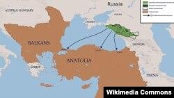 Основные направления переселения черкесов в Османскую империю