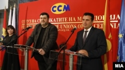 Илустрација претседателот на ССМ Дарко Димовски и премиерот Зоран Заев