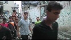Qəzza ötən gecənin bombardmanından sonra