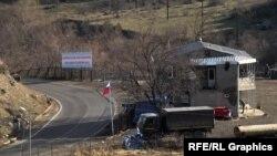 A Russian military post on a highway running along the Armenian-Azerbaijani border.