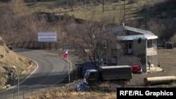 A Russian military post on a highway running along a Syunik section of the Armenian-Azerbaijani border.