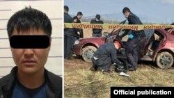 Один из подозреваемых в похищении (27 лет) и машина, где были обнаружени тела похищенной девушки и одного из ее похитителей (фото предоставлены МВД КР), 7 апреля 2021 г.