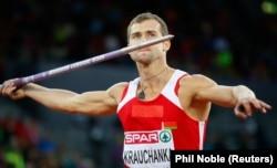 Andrey Krauchanka competes at the European Athletics Championships in Zurich in 2014.