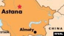 Карта Казахстана и северо-западной части Китая.