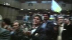 Делегати першого з'їзду Руху скандують «Єдність!» під час виступу Вілена Мартиросяна