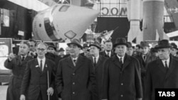 "Communist leader Leonid Brezhnev (third from left) visits the ""Kosmos"" section of an exhibition of Soviet economic achievements in Moscow in 1967."