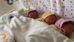 Женщина, страдающая ДЦП, родила тройню