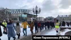 Акция протеста в Калининграде, Россия, 31 января 2021 года
