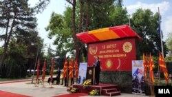 Претседателот и врховен командант Стево Пендаровски зборува на одбележување на Денот на Армијата