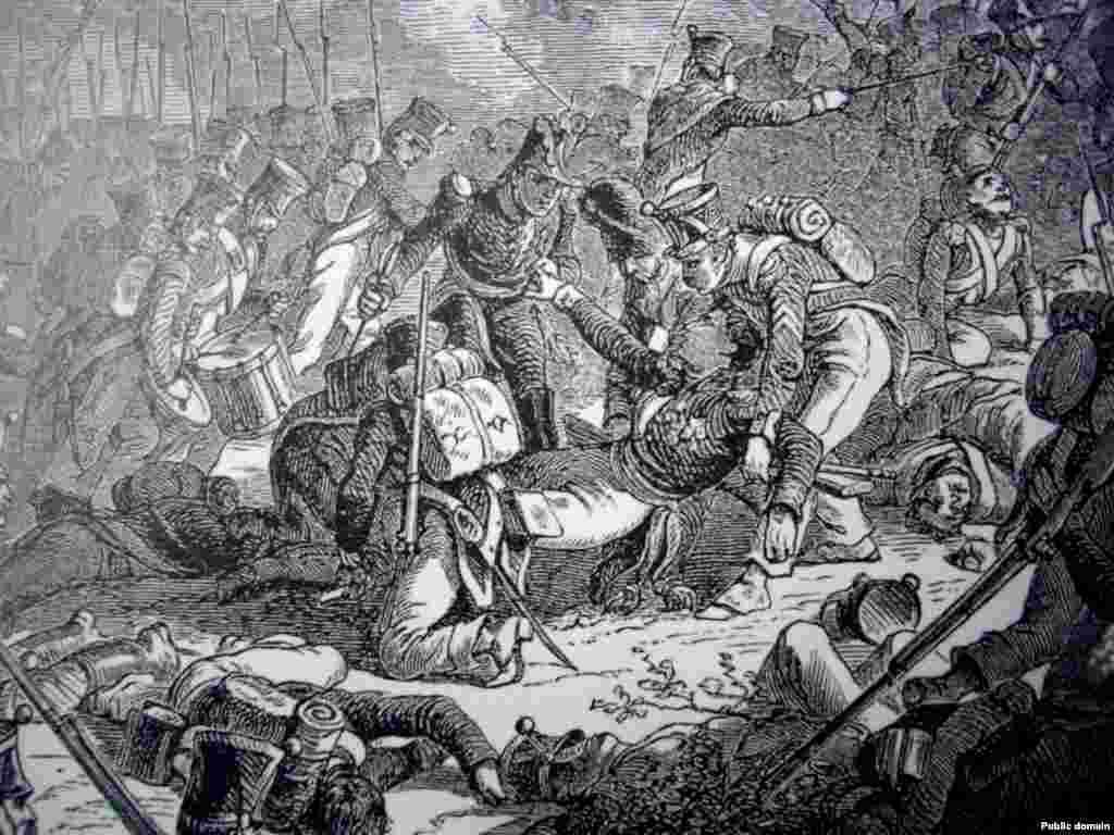 Gudina je 1812. pogodilo topovsko đule nedaleko od Smolenska. Ova ilustracija prikazuje Gudina kako izdaje komandu podređenom, nekoliko trenutaka nakon smrtnog ranjavanja.Preminuo je od gangrene tri dana nakon što mu je amputirana noga.