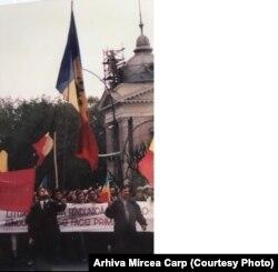 Aspect de la o demonstrație la Chișinău
