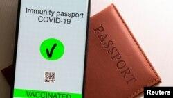 """Илустрација - """"Имунизацискиот пасош"""" на мобилен телефон"""