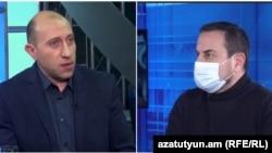 Քաղաքական մեկնաբան Հակոբ Բադալյանը (ձախից) և քաղաքական Արման Գրիգորյանը (աջից)