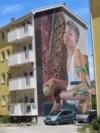 Bosnia and Herzegovina -- A mural in Bosnian city of Mostar (art, wall, walls, society, idea, ideas, creativity, building, buildings, beautiful, urban, young people, artists), June 16, 2021.